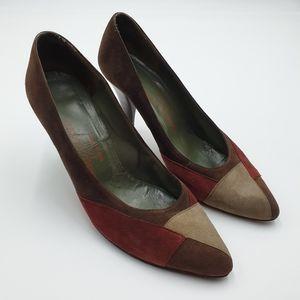 Charles Jourdan Paris AUS8.5 Maroon Red Taupe Heels Professional Colour Block